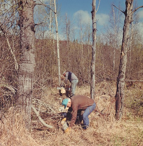 Bob and Dom Cutting Firewood near Kinney, Minnesota 1996