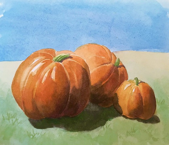 pumpkins, watercolor