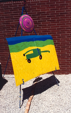 collaborative art project using recycled materials with elementary school by Joe LaMantia