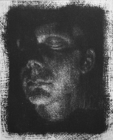 Mezzotint Self Portrait of artist Luke Vehorn self portrait