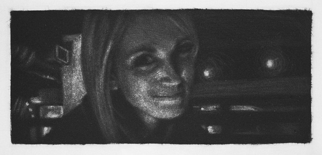 Mezzotint Portrait by artist Luke Vehorn , Subject Elizabeth Clark at Clyde Common in Portland Oregon