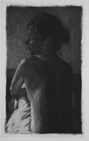 Mezzotint Nude Portrait by artist Luke Vehorn , Subject Caroline Grace of New Orleans