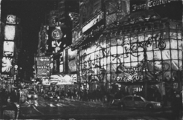 Mezzotint Architecture by artist Luke Vehorn , Subject Artist Katie Guthrie Times Square New York City
