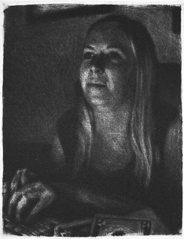 Mezzotint Portrait by Luke Vehorn , Subject Artist and Redux Director Karen Ann Myers
