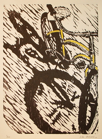 Original woodblock woodcut print Pedal Pop Pedalpop show Luke Vehorn Waiting for Melissa limited edition