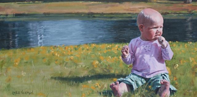 Oil on Canvas Oil Painting by artist Luke Vehorn , Subject Emma Elizabeth Morris, Pokey