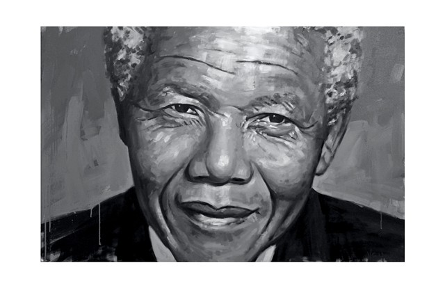 Luke Vehorn Nelson Mandela Painting Original Artwork Contemporary Portrait South Africa Charleston
