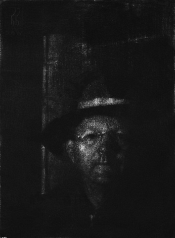 Mezzotint Portrait by artist Luke Vehorn , Subject Ronnie Vehorn Harrison Hope Winemaker