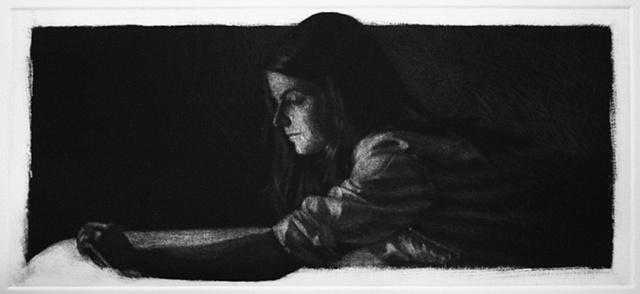 Mezzotint Portrait by artist Luke Vehorn , Subject Artist Lesley Wamsley
