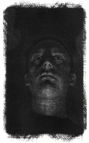 Mezzotint Self Portrait of artist Luke Vehorn