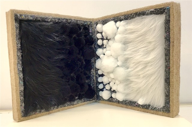 "K.W. ""a brief history of abstraction"" 2019 wood, felt, pompoms, faux fur, 8.5"" x 8.5"" x 4"""