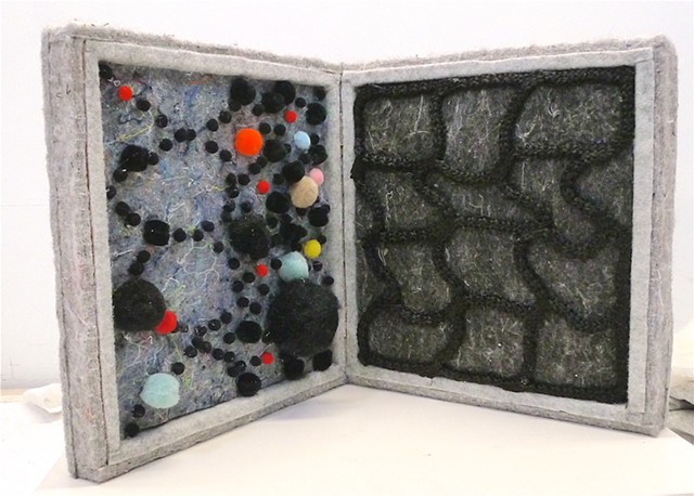 "K.W. ""a brief history of abstraction"" 2019 wood, felt, pompoms, netting, 8.5"" x 8.5"" x 4"" Collection Margo Sawyer, Austin, TX"