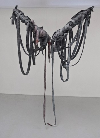"*Kay Whitney ""Icarus device"" 2019 felt, plywood, leather, aircraft cable, stainless steel, 9' x 6' x 4.5'* copy"