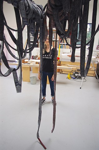 "WIP *Kay Whitney ""Icarus device"" 2019 felt, plywood, leather, aircraft cable, stainless steel, 9' x 6' x 4.5'* copy"
