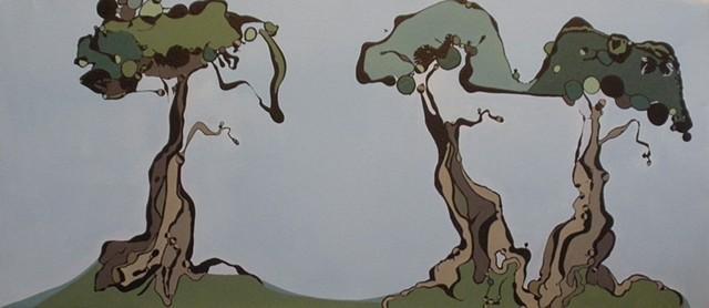 Three Cypress Trees
