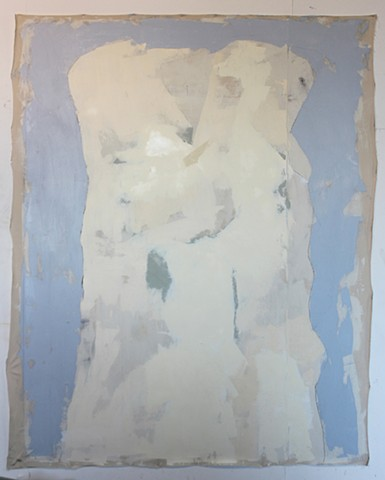 Oil paint on stretched canvas, on a hide glue and oil based ground. Large Huge Brushed fine art contemporary art post abstraction figure. Ted Stanuga, Chicago Art, Commercial Installation