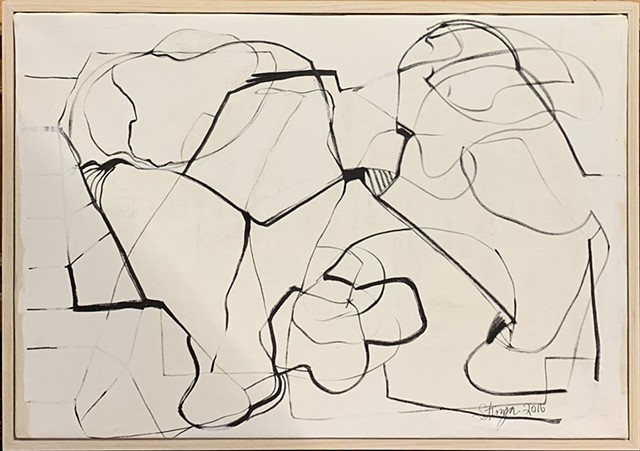 Linear black and white figurative abstract expressionism framed chicagoart ted stanuga