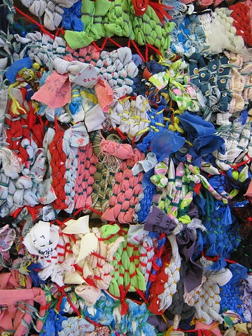 Reuse/Recycle: Found Object Weaving Quilt (Close Up) First Grade