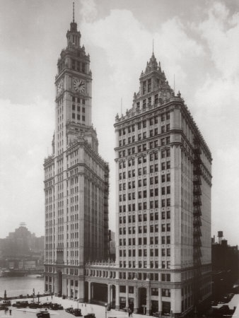 The Wrigley Building and old Chicago