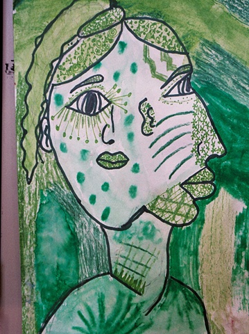 Monochromatic Picasso Portraits Fifth Grade