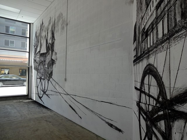 Mobil Homes, Charcoal on wall - Project Space 2013 - detail
