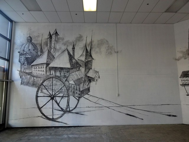 Mobil Homes, Charcoal on wall - Project Space 2013