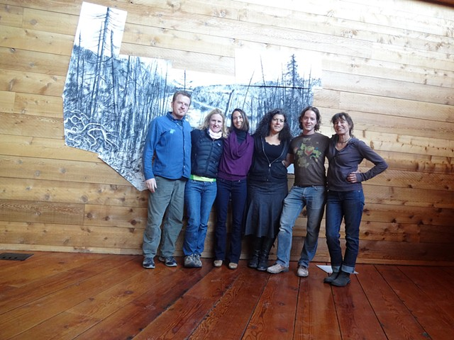 "The amazing crew from my Caldera residency in April, 2013 posing with ""Blue Lake, Caldera"" drawing."