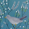 Grey Bird with White Flowers
