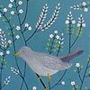 Grey Bird with White Flowers