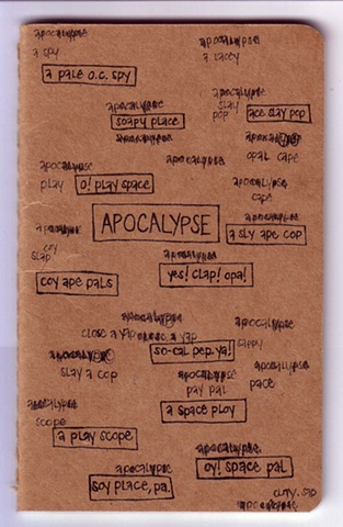 "Process: the ""Apocalypse"" anagram on the cover of the book, before the xerox transfer and the painting was applied"