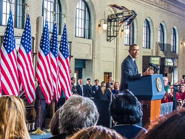 President Barak Obama speaking in St. Paul's Union Depot by one of my pieces.