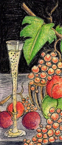 Still Life with Fruit and Wine Flute