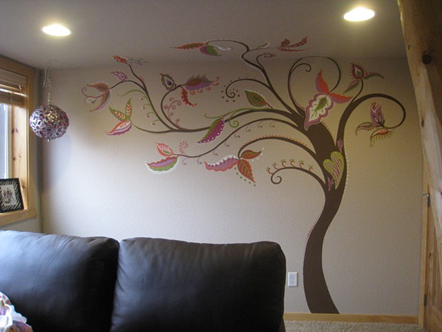 funky tree painting for young girl's bedroom