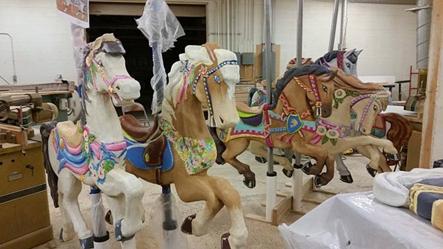 Carousel horses in the shop