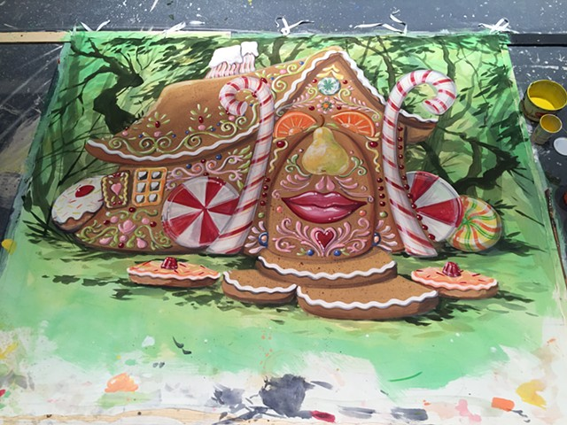 Hansel & Gretel, gingerbread house drop