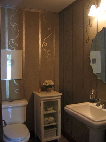Powder Room with whimsical metallic stripes