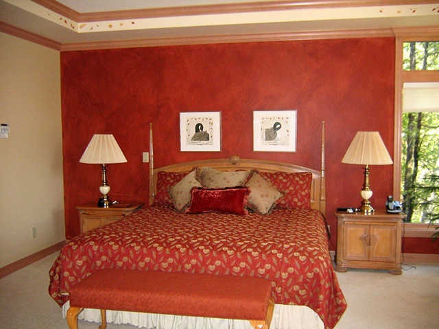 Red faux bedroom
