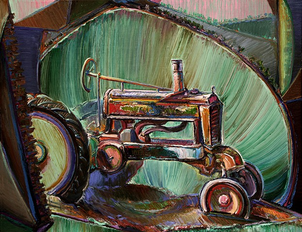 Tractor in Digitized Landscape