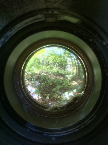 A photo taken through the centerpiece of Outcropping with an iphone