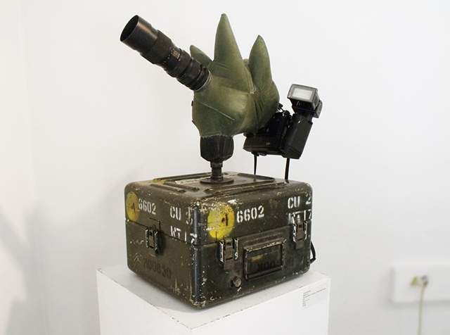 art surplus military camera canon nikon flash sculpture micro-film up-cycled recycled one-of-a-kind