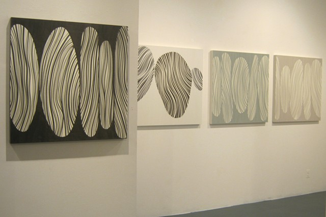 Stacks, Brown, White Blue, Grey (installation - Cheryl Hazan Gallery)