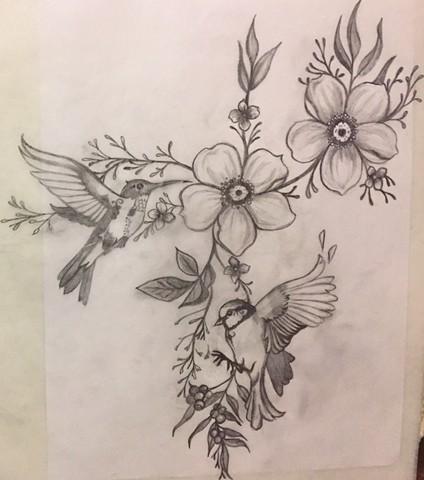 Bird Shoulder Piece for Courtney (sketch)