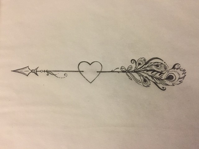 Arrow with Feathers for Dawn (sketch)