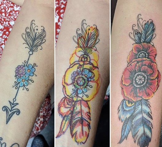 Poppies and Feathers for Crissy