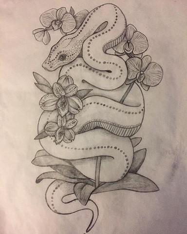 Snake and Flowers for Allison (sketch)