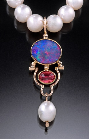 Australian opal, pink tourmaline and pearl pendant in 14k and 18k gold.
