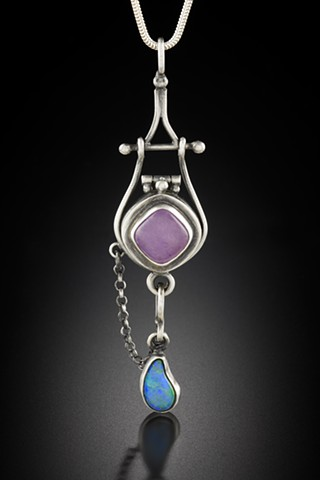Lavender Jade and Opal Reliquary with double hinge. Hooked closure.