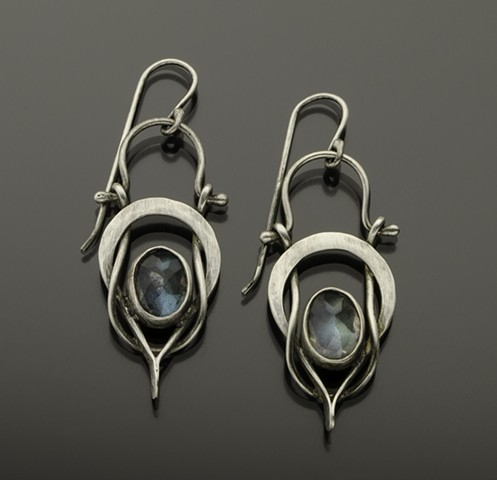 Labradorite Earrings, Forged and Hinged Sterling Silver