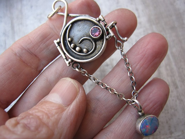 Reliquary with Pink Tourmaline and Opal