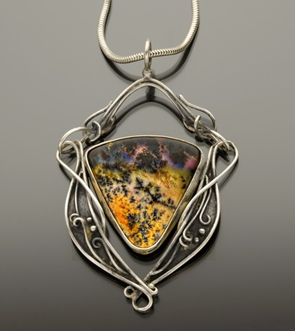 Amethytized Dendretic Agate Hinged Agate Pendant in Sterling